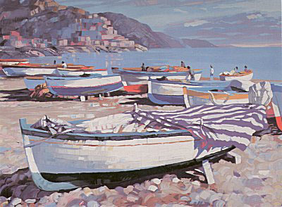 Amalfi Boats (Canvas) by Howard Behrens