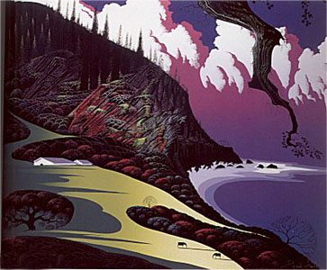 Barns By The Sea by Eyvind Earle